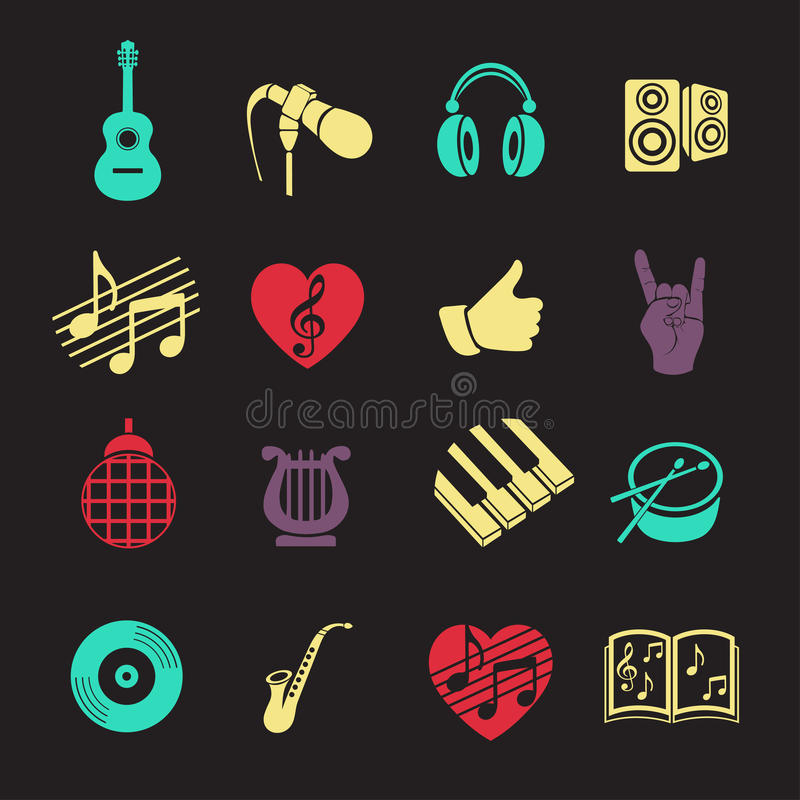 Vector set musical flat web icons. Multicolored with long shadow for internet, mobile apps, interface design royalty free illustration