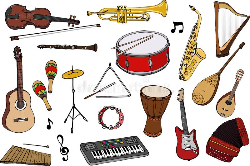 Vector set of musical instruments. Cartoon colored isolated objects on a white background. Multicolored hand drawn illustration royalty free illustration