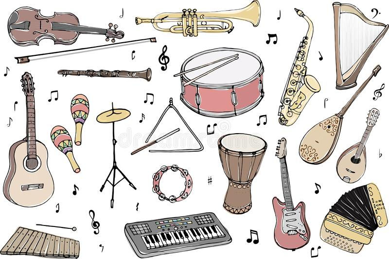 Vector set of musical instruments. Cartoon colored isolated objects on a white background. Multicolored hand drawn illustration stock illustration