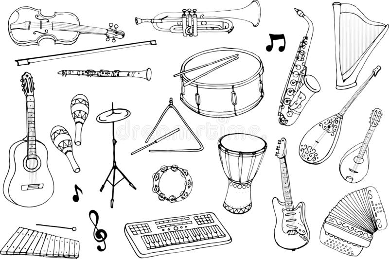 Vector set of musical instruments. Cartoon monochrome isolated objects on a white background. Linear hand drawn illustration royalty free illustration