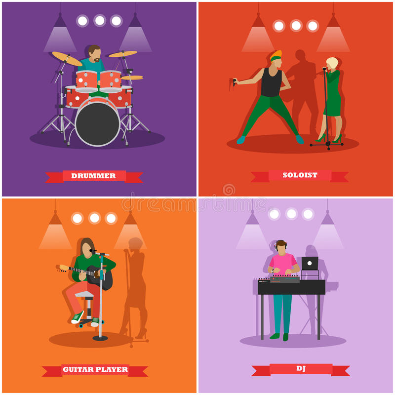 Vector set of musician and singers. Music rock band concept banners. royalty free illustration