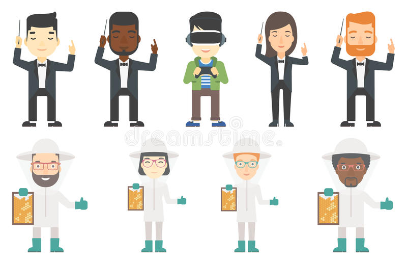 Vector set of musicians and beekeepers. vector illustration
