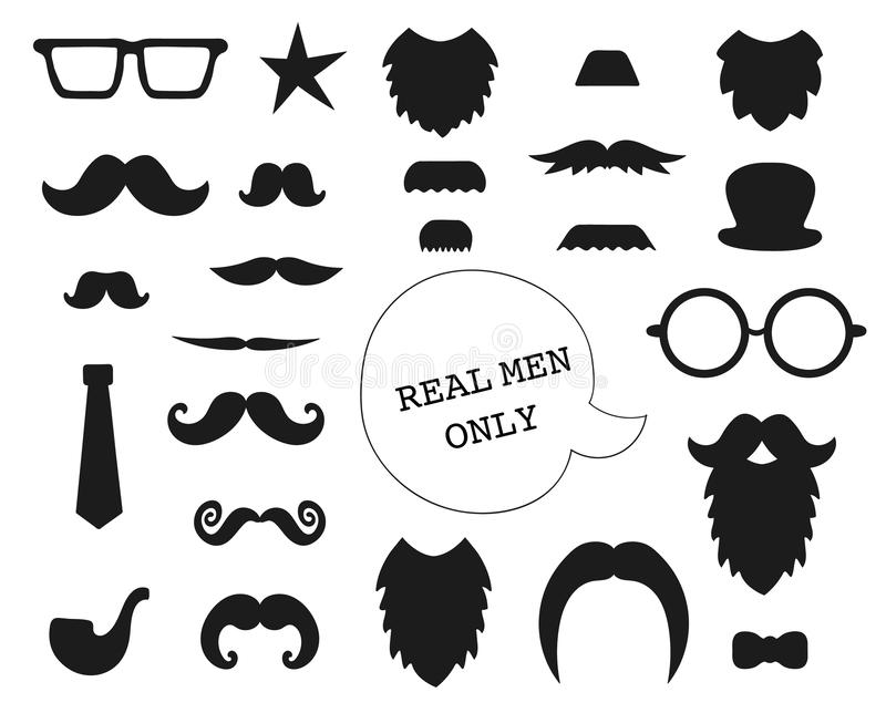 Vector set of mustache, beard, glasses, hat, tie, pipe, bow. vector illustration