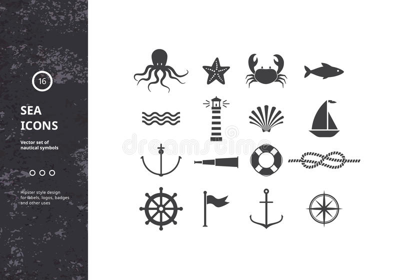 Vector Set of Nautical Icons. Sea Symbols Silhouettes. Hipster Style Design for Labels, Logos, Badges and Packaging royalty free illustration