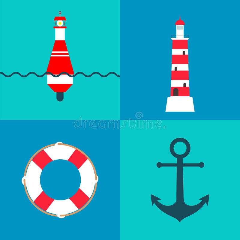 Vector set of nautical and marine elements with sea buoy, lighthouse, life ring and anchor stock illustration