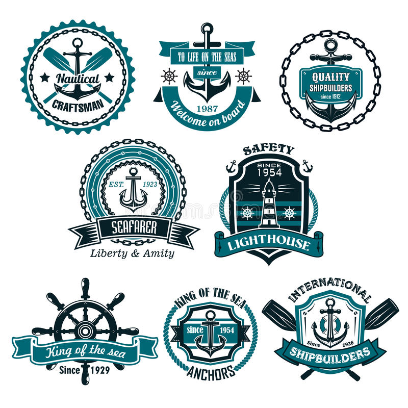 Vector set of nautical and marine icons royalty free illustration