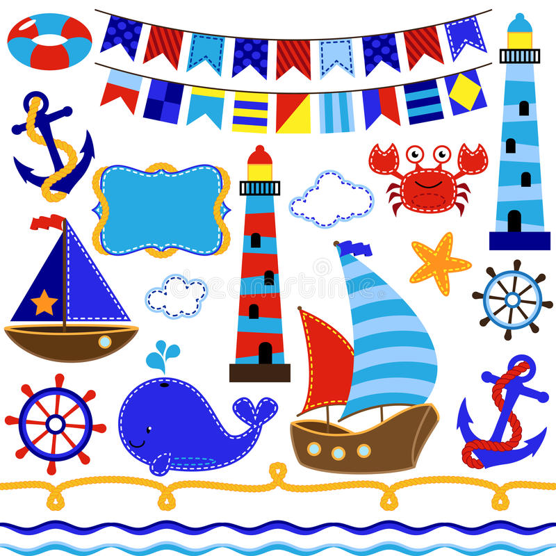Vector Set of Nautical and Sailing Themed Elements royalty free illustration