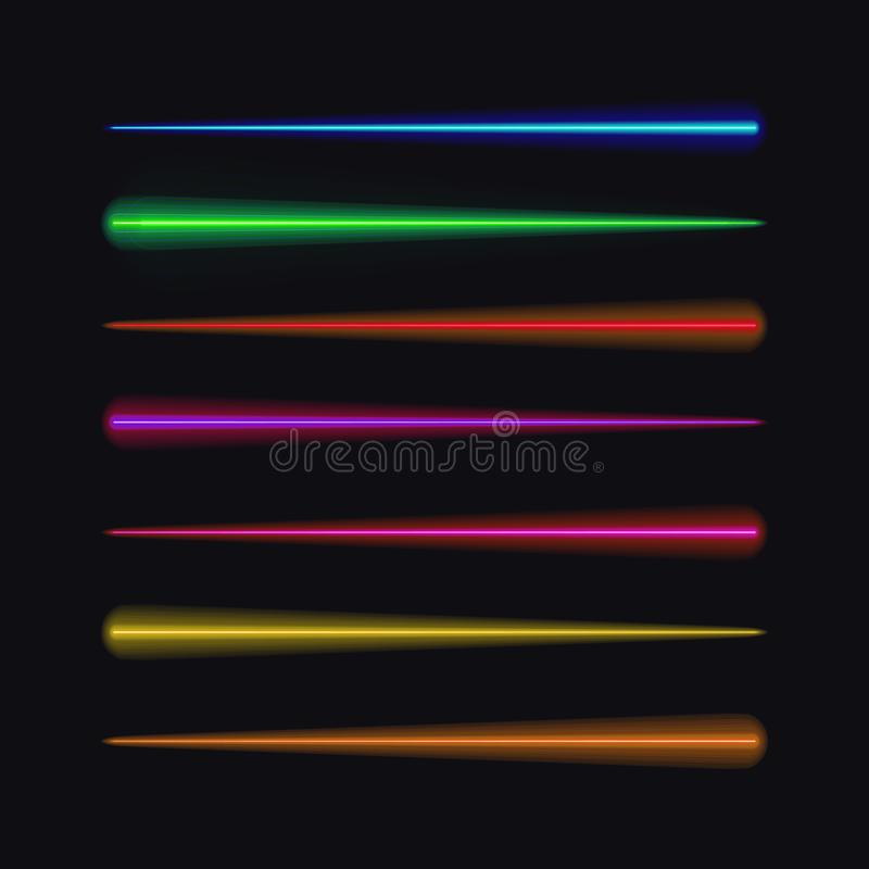 Vector Set of Neon Brushes, Different Colors Moving Lights. royalty free illustration