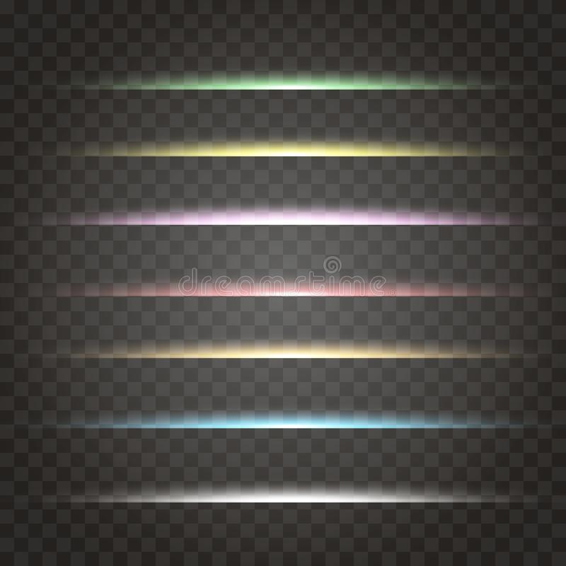 Vector set of neon laser glow light horizontal gleaming line flash effect on transparent Decorative colorful απεικόνιση αποθεμάτων