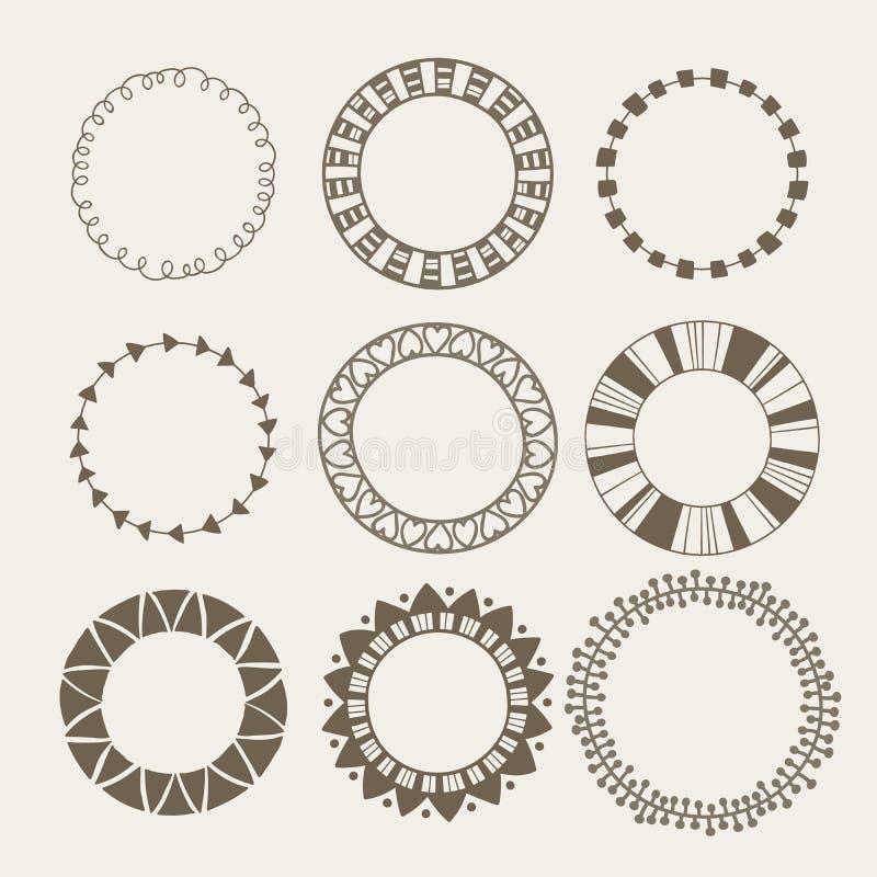 Vector set of nine different frames. royalty free illustration