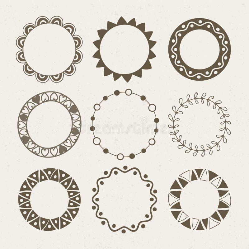 Vector set of nine different frames. stock illustration