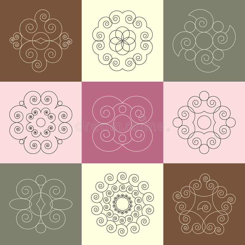 Vector set of nine round snail spiral calligraphic ornaments vector illustration
