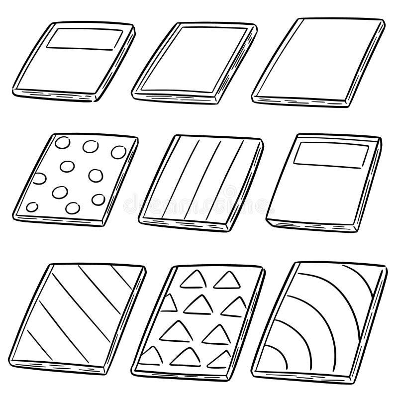 Vector set of notebooks. Hand drawn cartoon, doodle illustration stock illustration