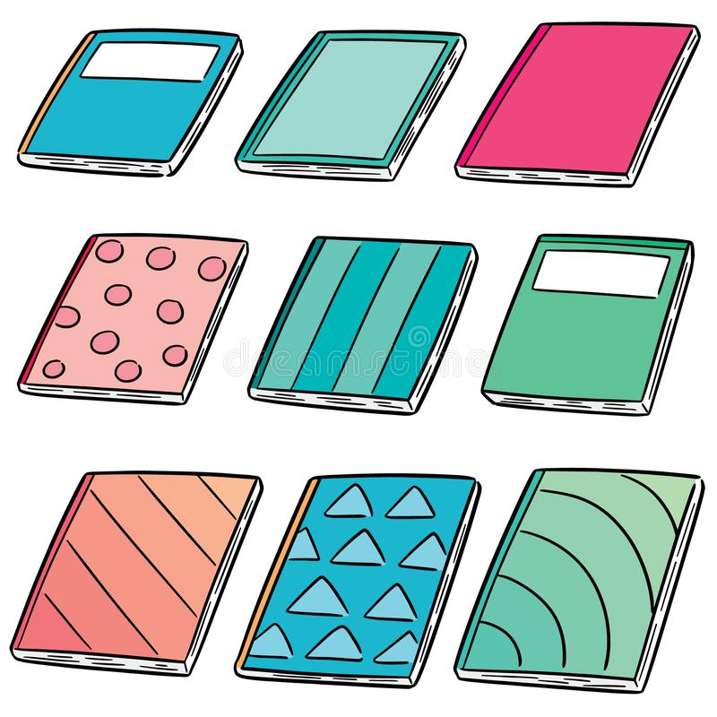 Vector set of notebooks. Hand drawn cartoon, doodle illustration royalty free illustration