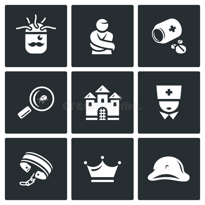 Vector Set of Nuthouse Icons. Diagnosis, Straitjacket, Treatment, Study, Building, Doctor, Bondage, Persistence, Split. Helmet, Patient, Pills, Magnifier vector illustration