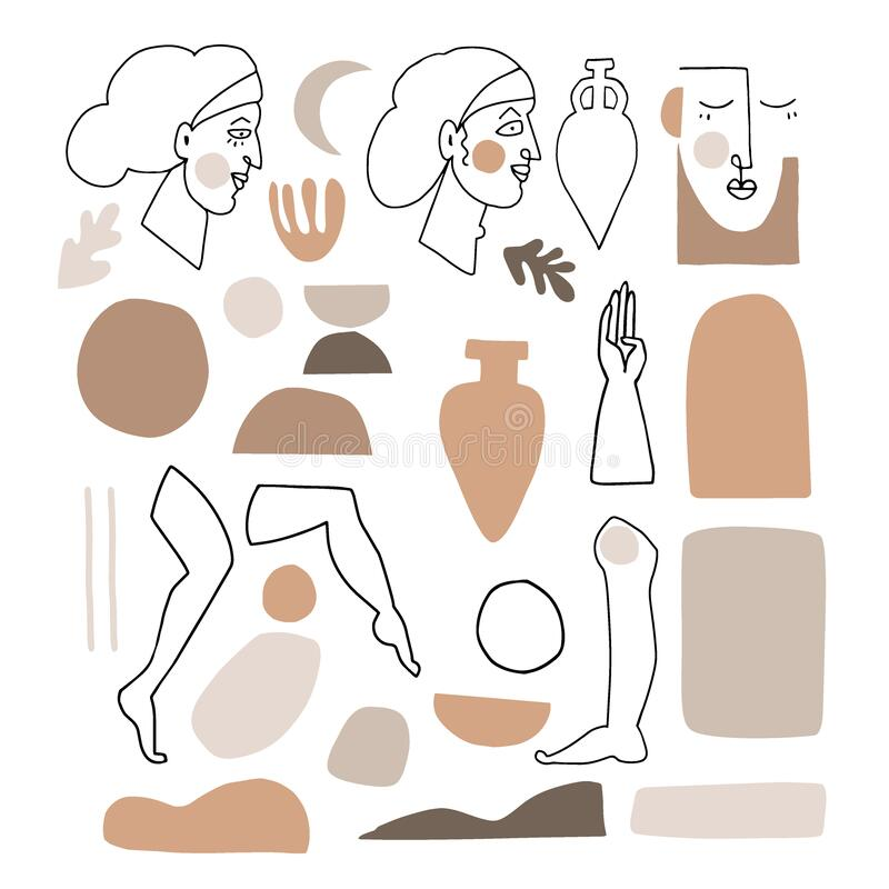 Free Vector Set Of Artistic And Abstract Graphic Objects. Illustrations Of Female Portraits And Vase Silhouette In Minimal Royalty Free Stock Photo - 190711555