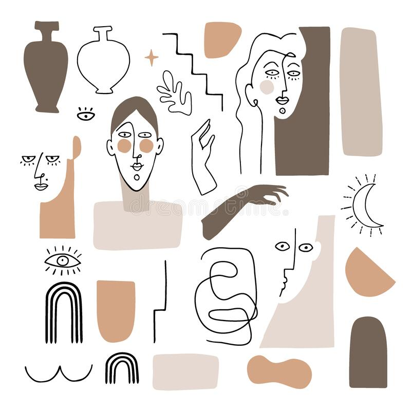 Free Vector Set Of Artistic And Abstract Graphic Objects. Illustrations Of Female Portraits And Vase Silhouette In Minimal Royalty Free Stock Photos - 190711608