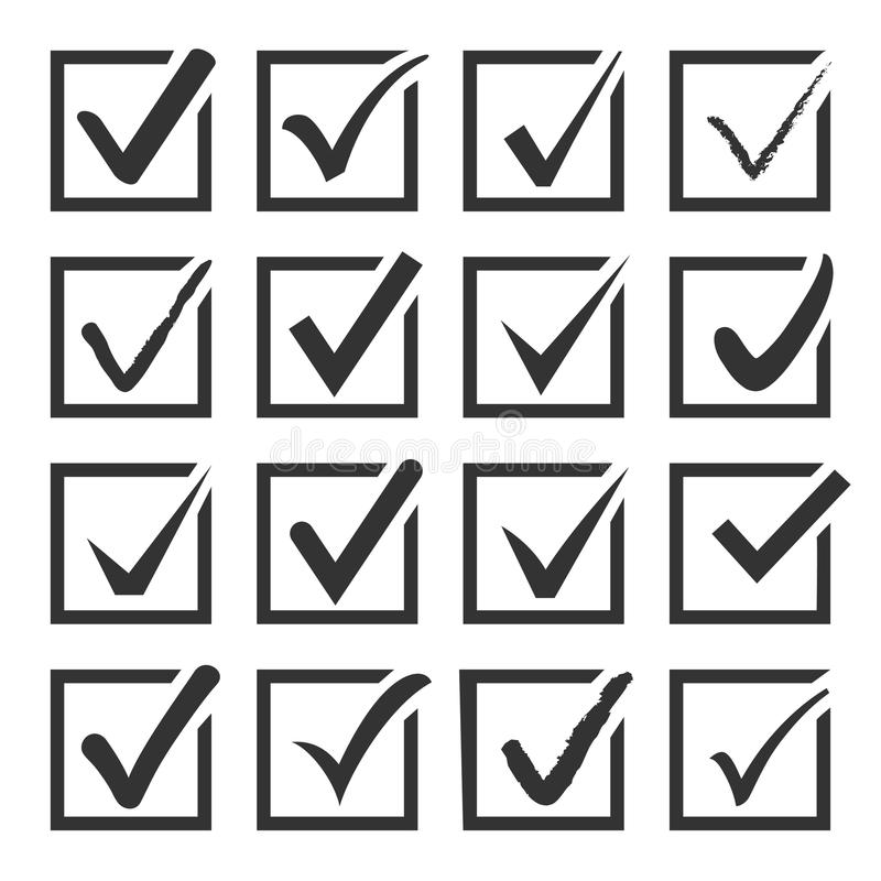 Free Vector Set Of Black Confirm Check Box Icons. Royalty Free Stock Photo - 58510575