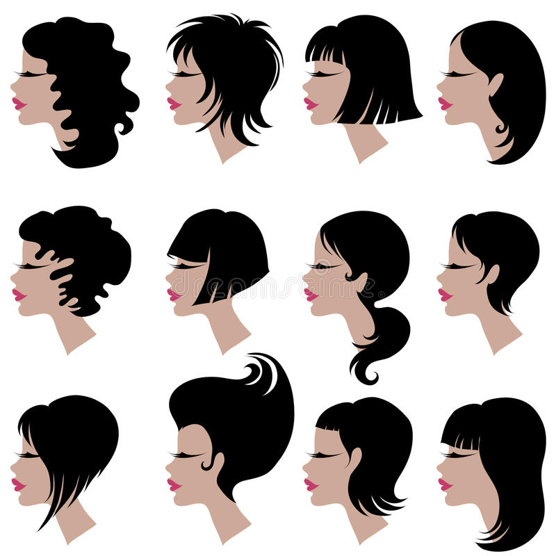 Free Vector Set Of Black Hair Styling For Woman Stock Image - 10814231