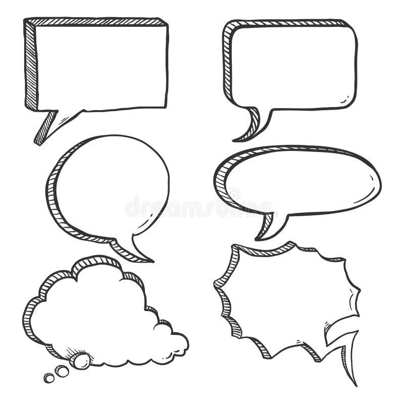 Free Vector Set Of Black Sketch Comics Speech Bubbles. Royalty Free Stock Photography - 110296237