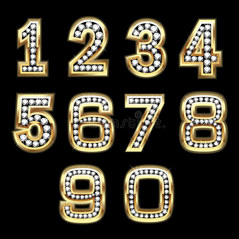 Free Vector Set Of Bling Numbers Stock Images - 16736034