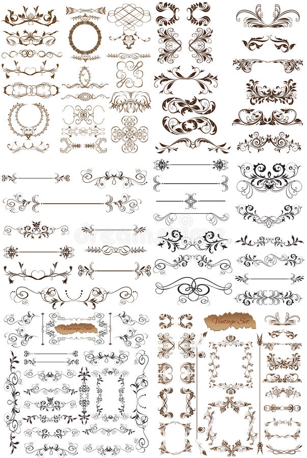 Free Vector Set Of Calligraphic Elements For Design Stock Photo - 42490490