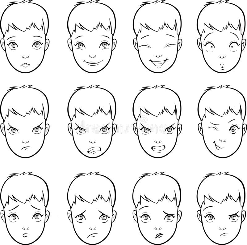 Free Vector Set Of Cartoon Faces With Various Moods Emotions And Expressions Stock Photography - 182459752