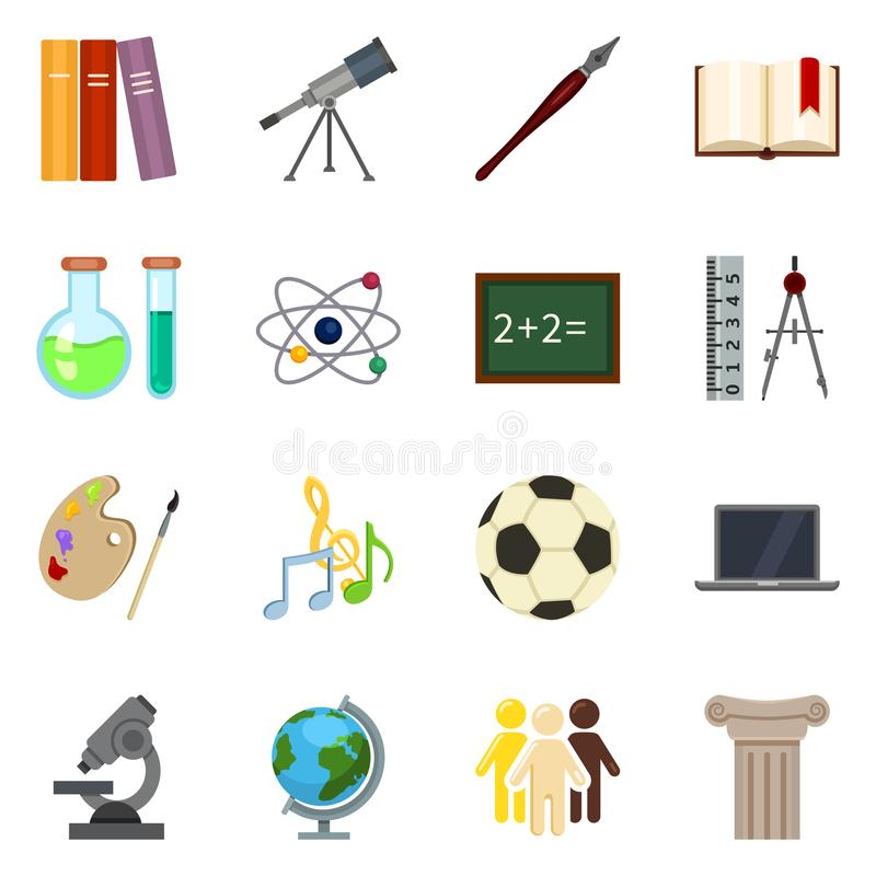 Free Vector Set Of Color Flat School Subject Icons Stock Images - 121573984
