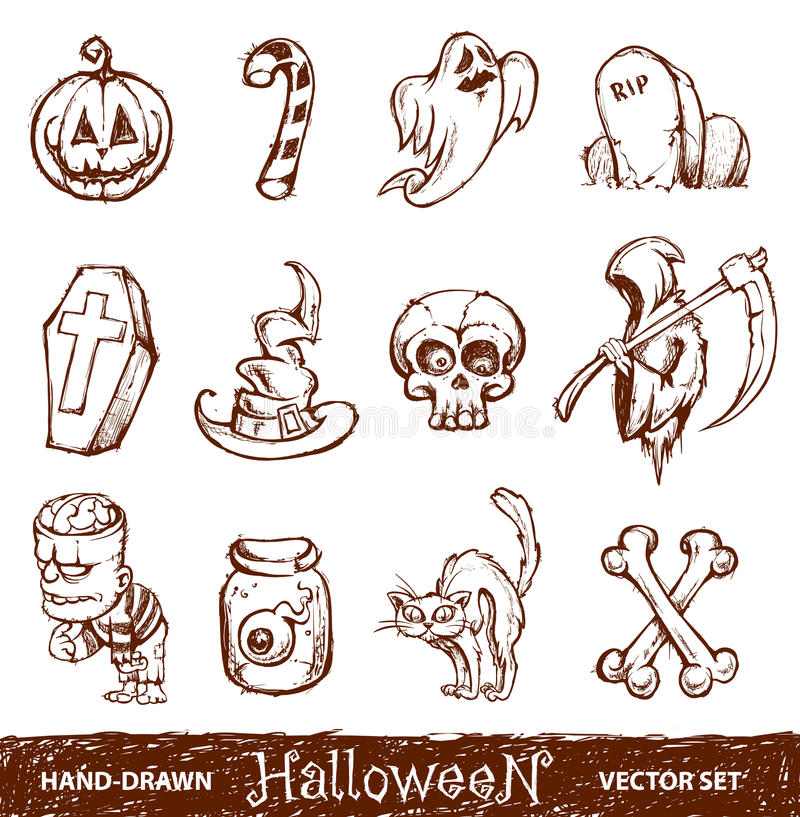 Free Vector Set Of Cute Hand-drawn Halloween Elements Royalty Free Stock Photos - 22002678