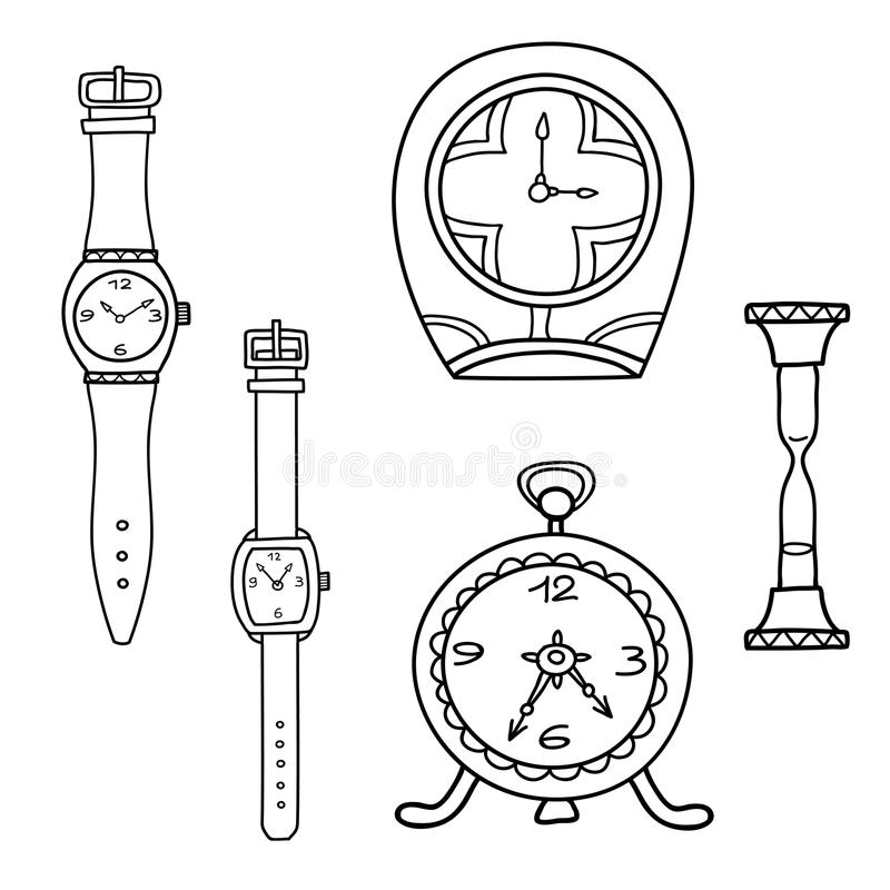 Free Vector Set Of Doodle Hand Drawn Watches Isolated On White. Royalty Free Stock Image - 110446976