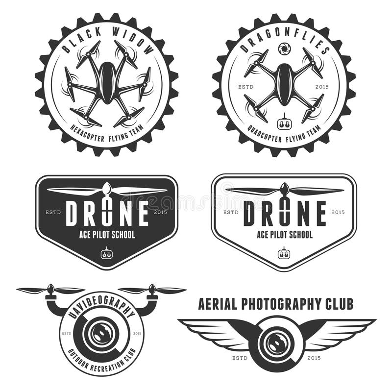 Free Vector Set Of Drone Flying Club Labels, Badges Stock Image - 57553531