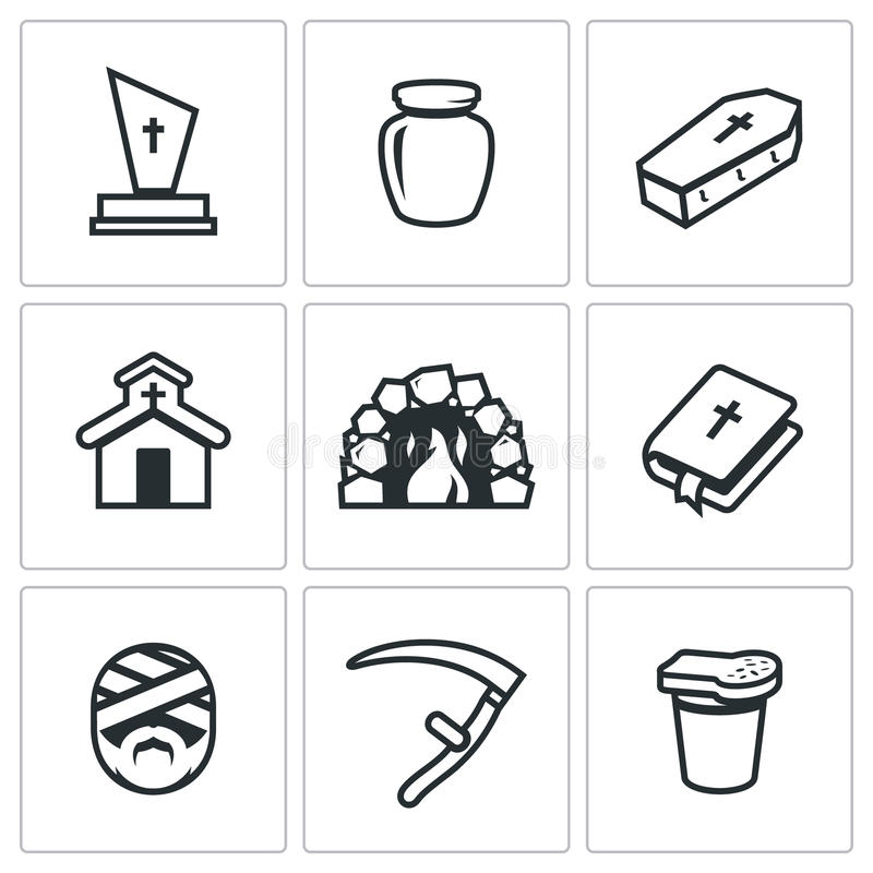 Free Vector Set Of Funeral Icons. Stock Photos - 72969833