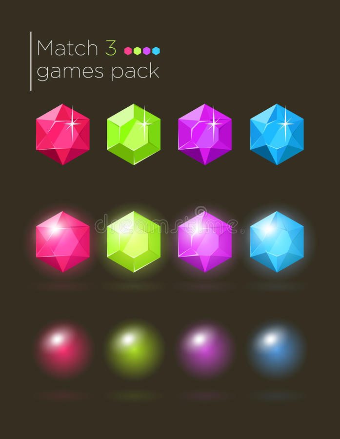 Free Vector Set Of Gems For Casual Games Stock Photography - 52281212