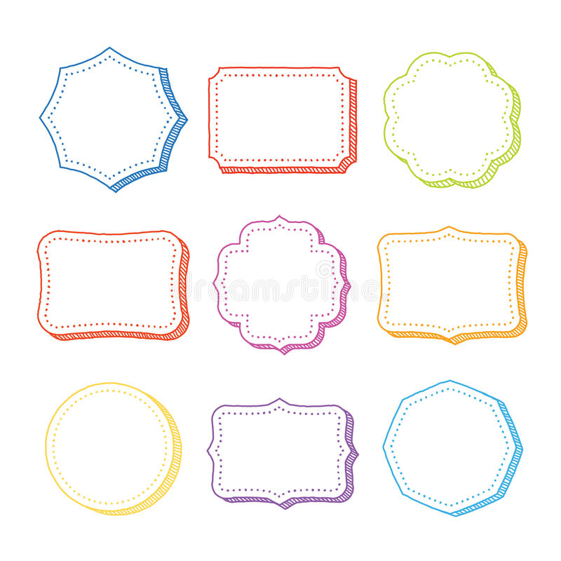 Free Vector Set Of Hand Drawn Frames Stock Images - 37406044