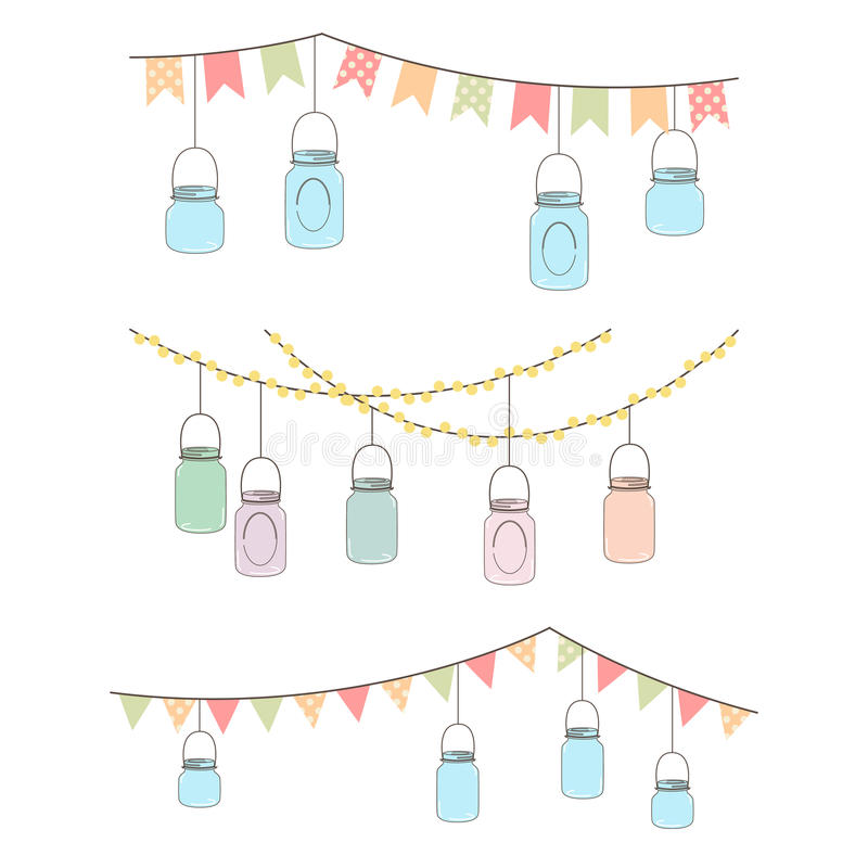 Free Vector Set Of Hanging Glass Jar Lights Royalty Free Stock Image - 37983966