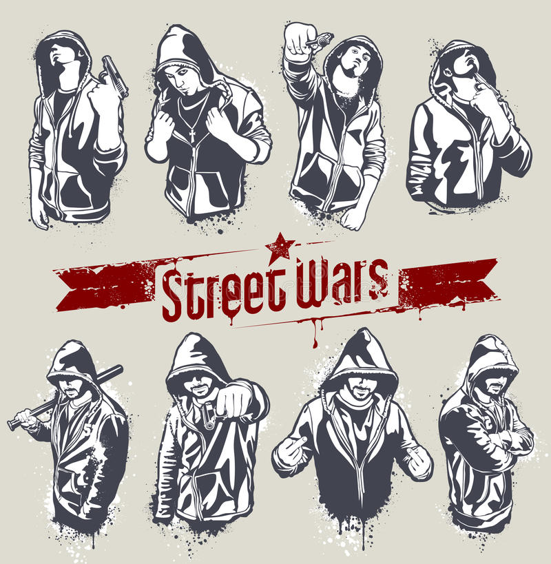 Free Vector Set Of Hoody Gangsters Stock Photos - 22002723