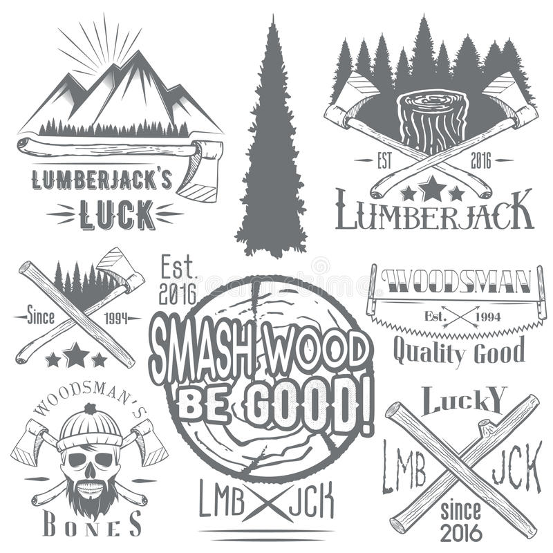 Free Vector Set Of Lumberjack And Woodsman Vector Labels In Vintage Style. Wood Work, Manufacture Emblems Templates. Royalty Free Stock Photography - 68992607