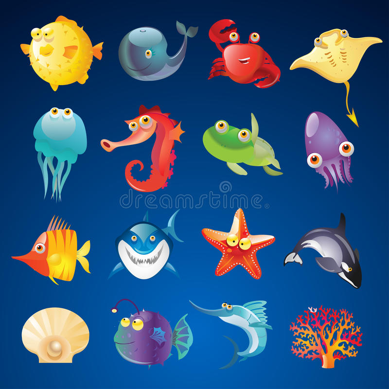 Free Vector Set Of Sea Creatures Royalty Free Stock Photography - 45052167