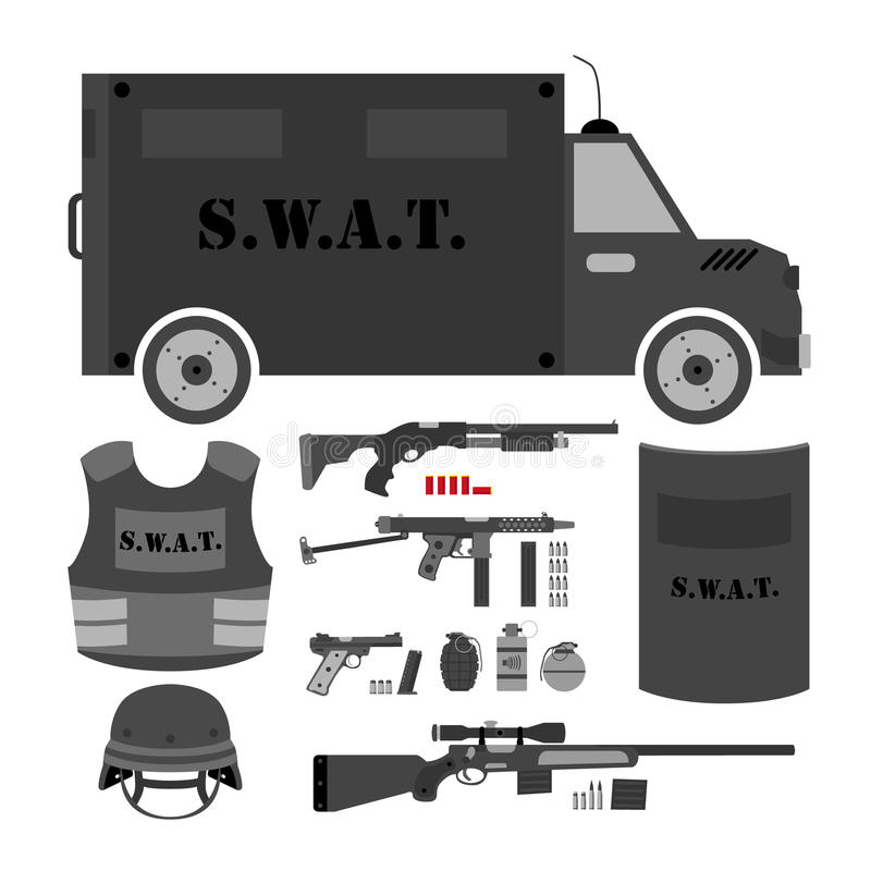 Free Vector Set Of Swat, Police Gear. Swat Bus, Shield, Helmet, Shotg Royalty Free Stock Photo - 83056505