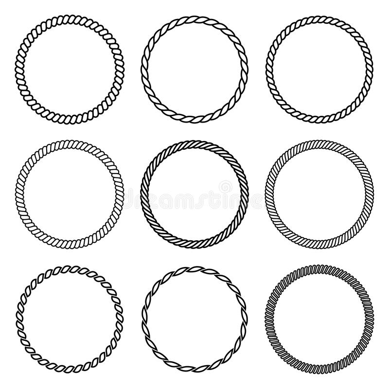 Free Vector Set Of Thick And Thin Round Rope Frame. Royalty Free Stock Photo - 89678245