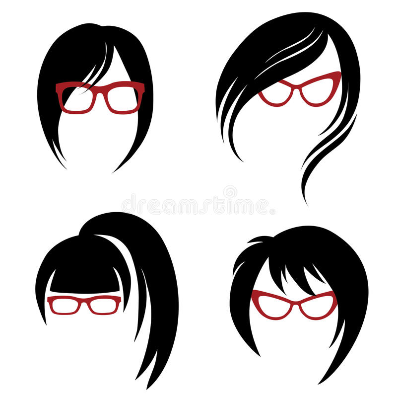 Free Vector Set Of Trendy Hair Styling For Woman Stock Images - 45571114