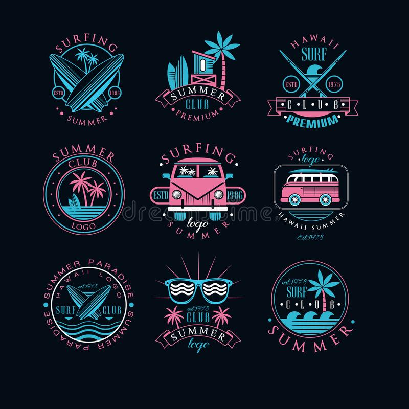 Free Vector Set Of Vintage Logos For Surfing Club. Creative Emblems With Surfboards, Sunglasses, Vans And Palm Trees. Hawaii Royalty Free Stock Photography - 143718547