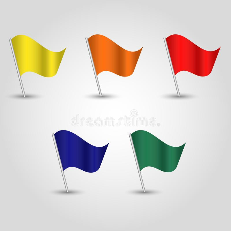 Free Vector Set Of Waving Flags On Silver Pole - Yellow, Orange, Red, Blue, Green Stock Image - 160382591
