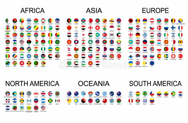 Vector set official national flags of the world. Country round shape flags collection with detailed emblems. Political background stock illustration
