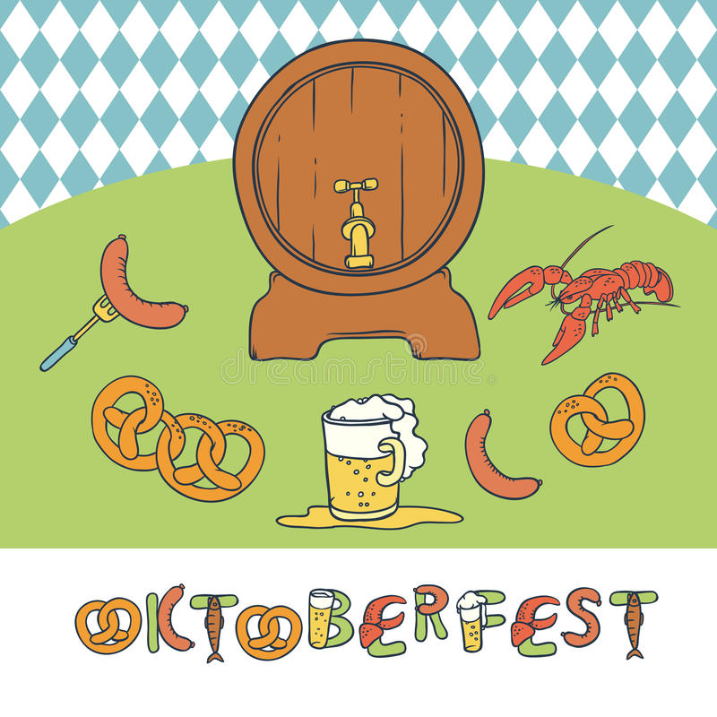 Vector set Oktoberfest. Isolated sketch illustration a mug and a keg of beer, appetizer sausage and pretzels. Seamless royalty free illustration