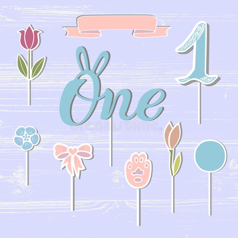 Vector set with One, flowers, paw, ribbon. stock illustration