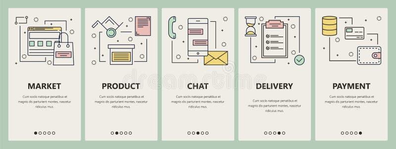 Vector thin line flat design online market concept vertical banners stock illustration