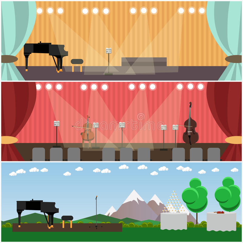 Vector set of orchestra interior concept flat style posters, banners stock illustration
