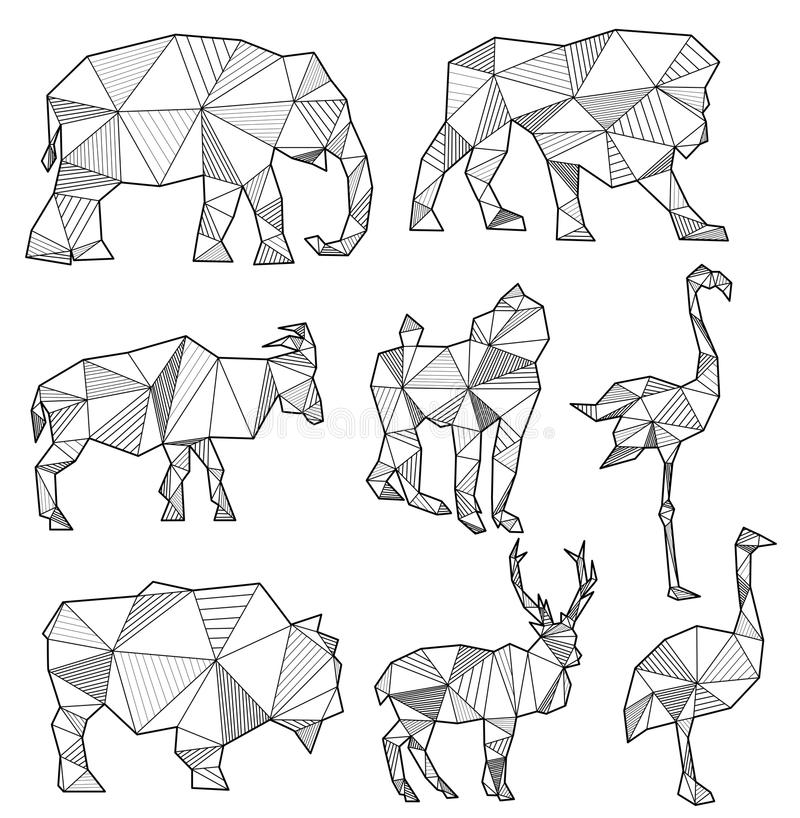 Vector set of origami animal silhouettes. (elephant, lion, goat, monkey, flamingo, bull, deer and ostrich royalty free illustration