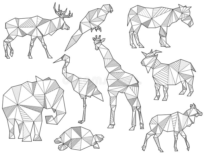 Vector set of origami animal silhouettes. (Elk, Parrot, horse, ground squirrel, elephant, Heron, giraffe, goat, turtle and Antelope royalty free illustration